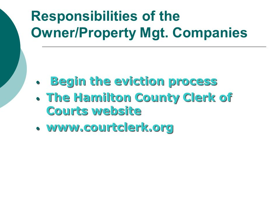 Responsibilities of the Owner/Property Mgt. Companies