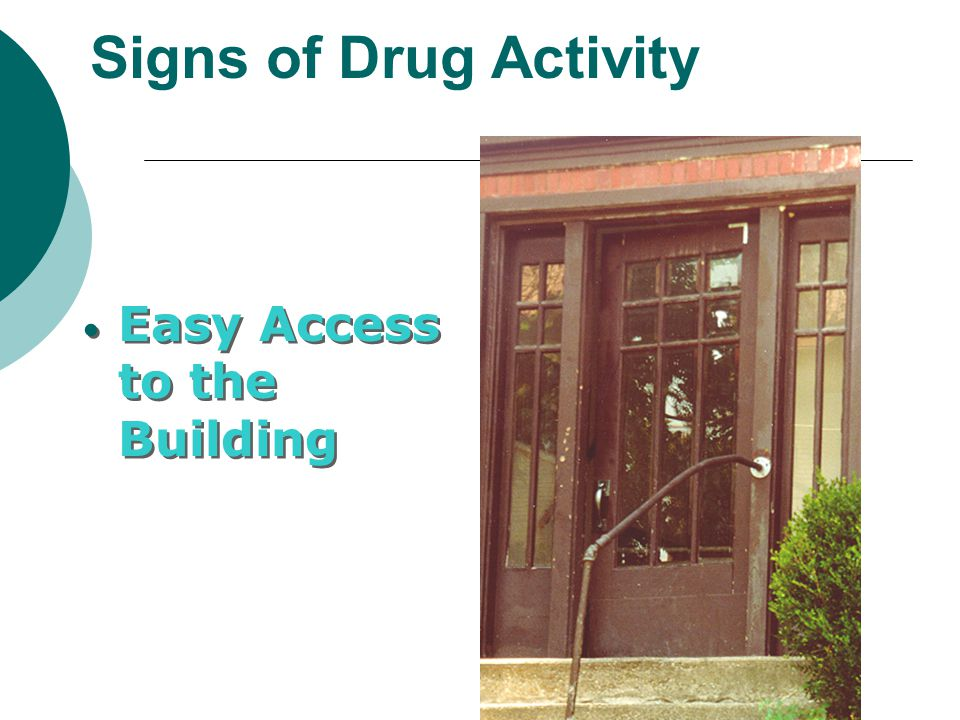 Signs of Drug Activity Easy Access to the Building