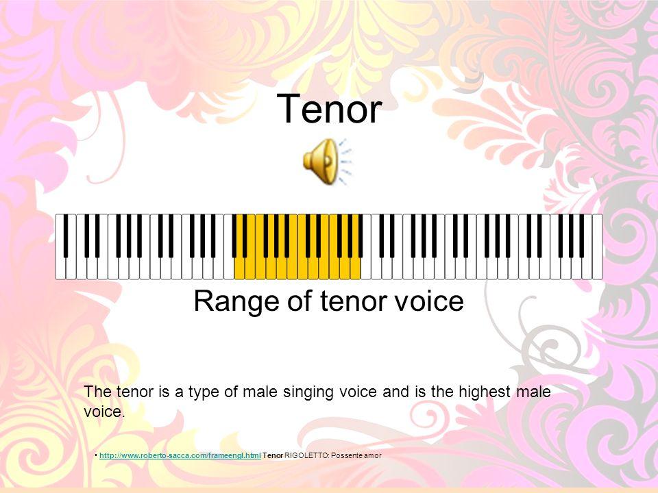 Tenor Range of tenor voice