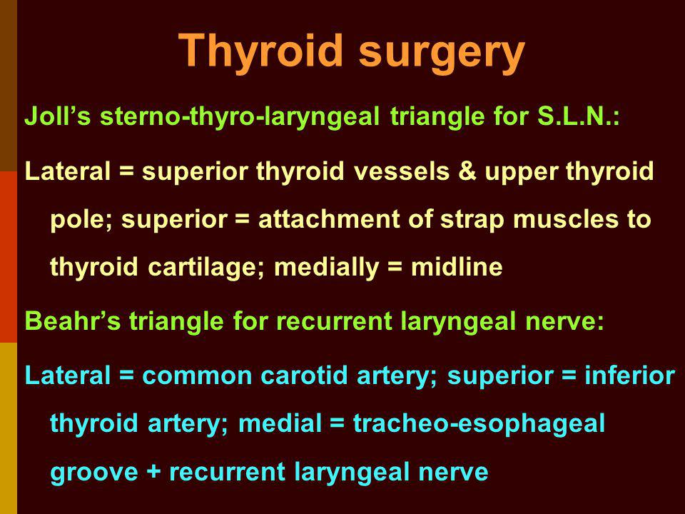 Thyroid surgery Joll's sterno-thyro-laryngeal triangle for S.L.N.: