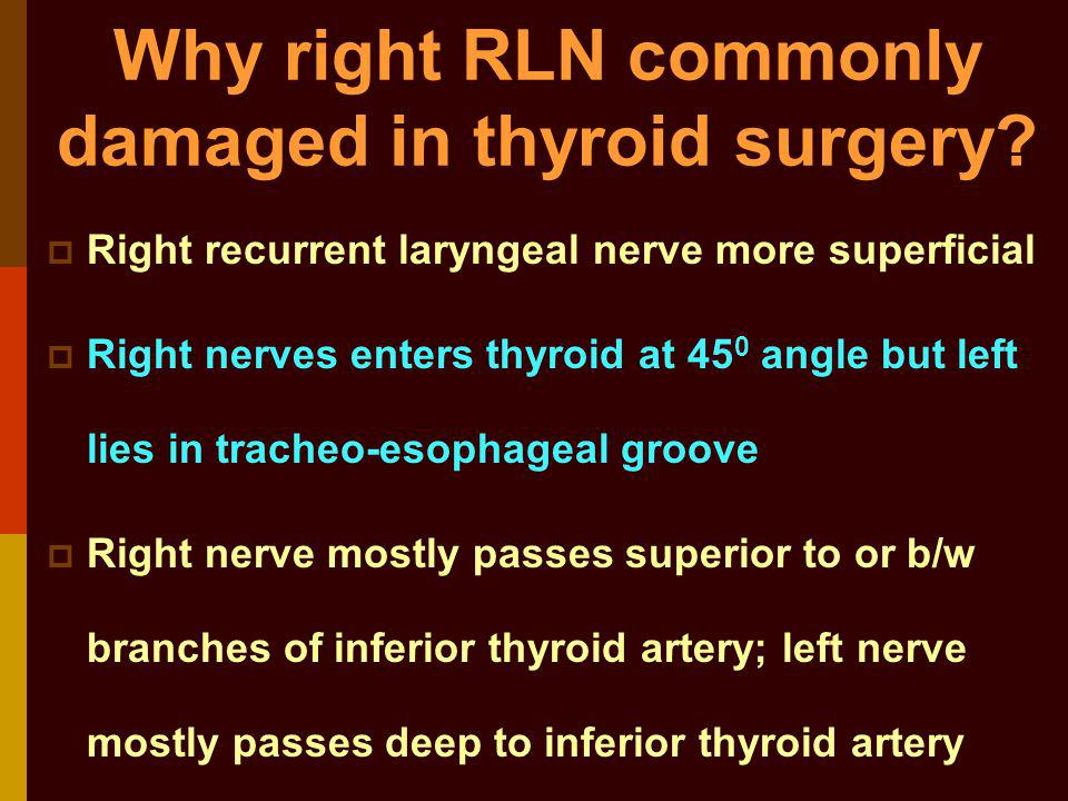 Why right RLN commonly damaged in thyroid surgery