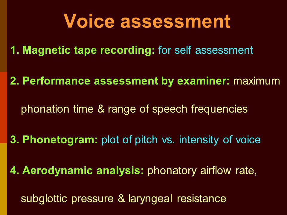 Voice assessment 1. Magnetic tape recording: for self assessment