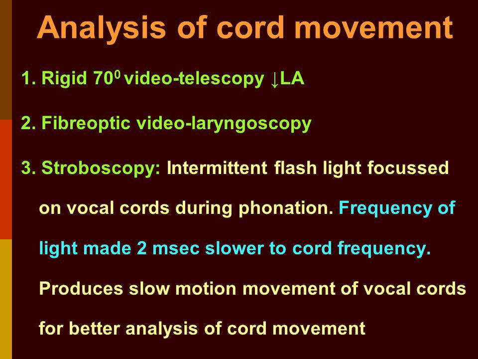 Analysis of cord movement