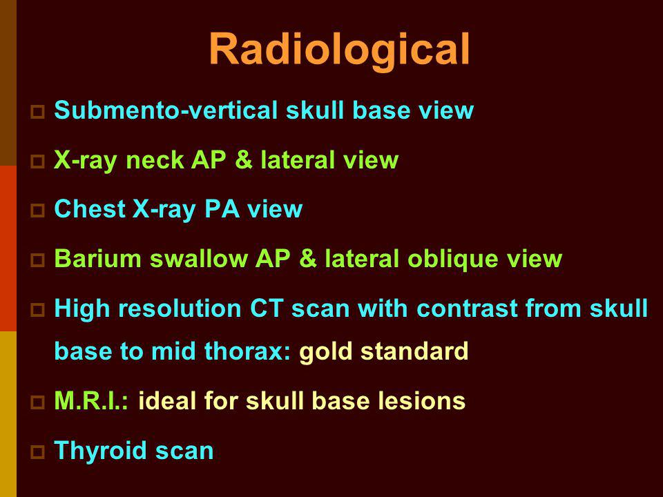 Radiological Submento-vertical skull base view
