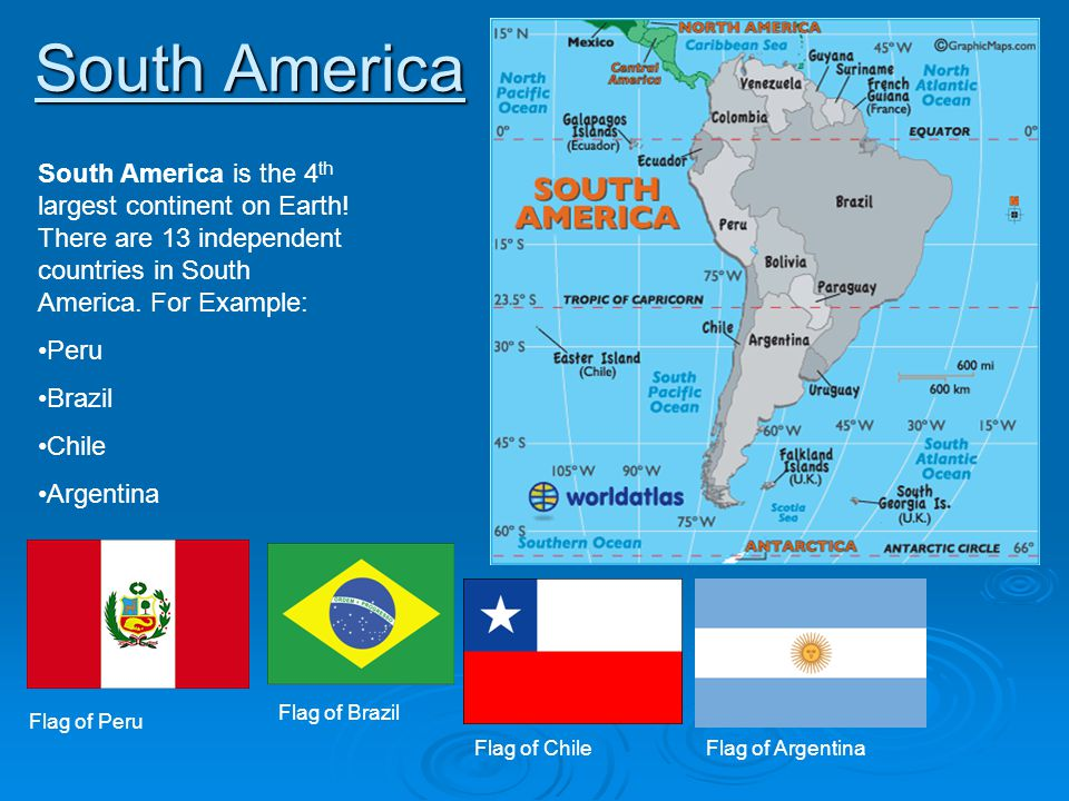South America South America is the 4th largest continent on Earth! There are 13 independent countries in South America. For Example: