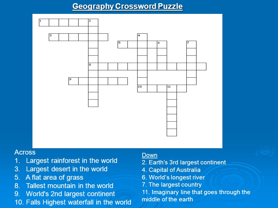 Geography Crossword Puzzle