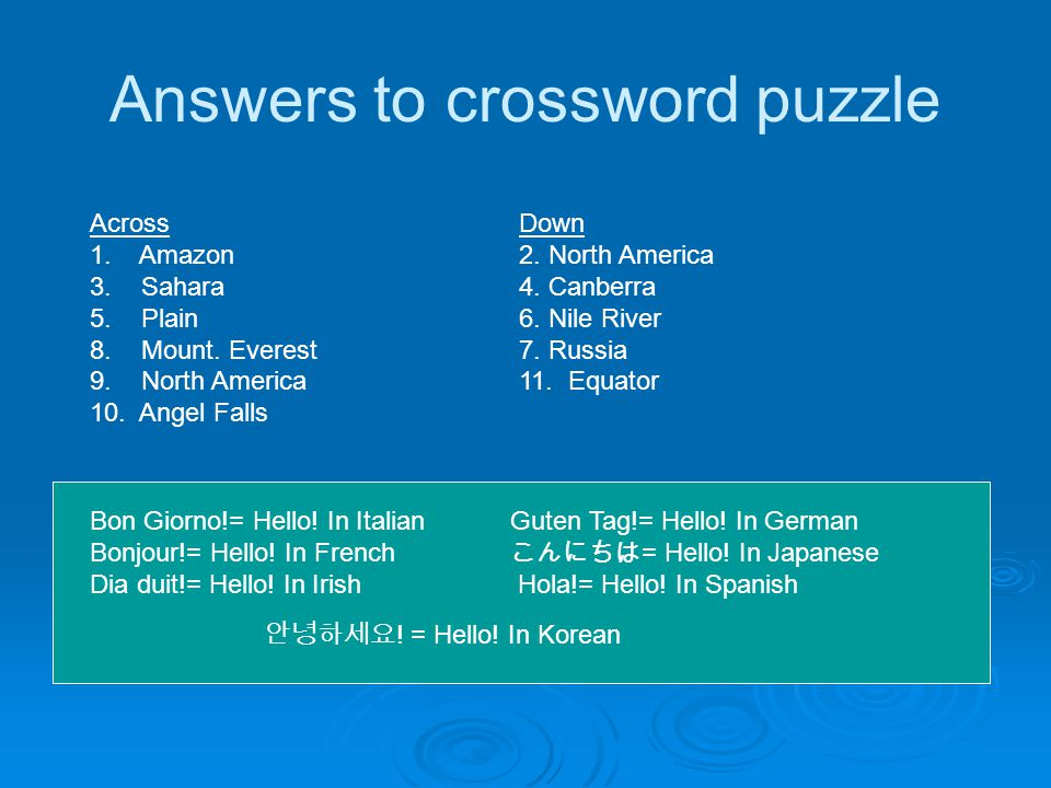 Answers to crossword puzzle