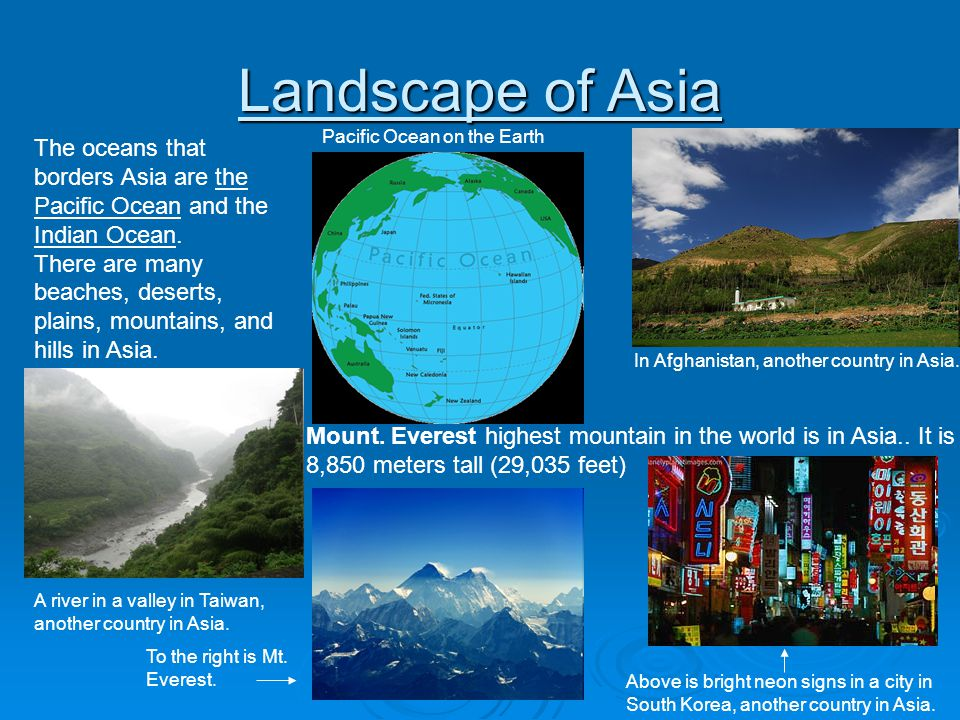 Landscape of Asia Pacific Ocean on the Earth. The oceans that borders Asia are the Pacific Ocean and the Indian Ocean.