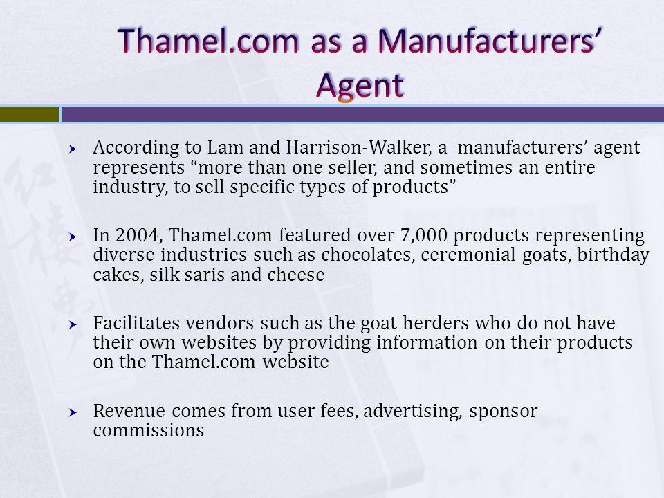 Thamel.com as a Manufacturers' Agent