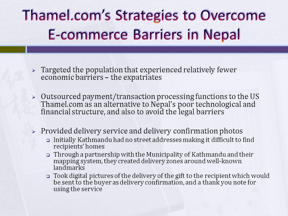 Thamel.com's Strategies to Overcome E-commerce Barriers in Nepal
