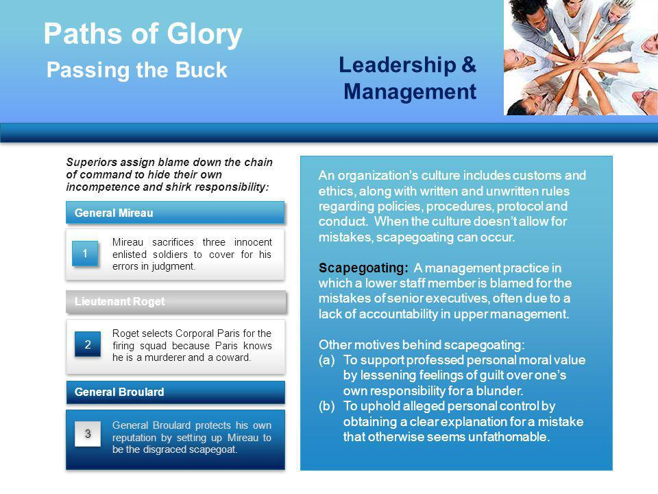 Paths of Glory Leadership & Management Passing the Buck