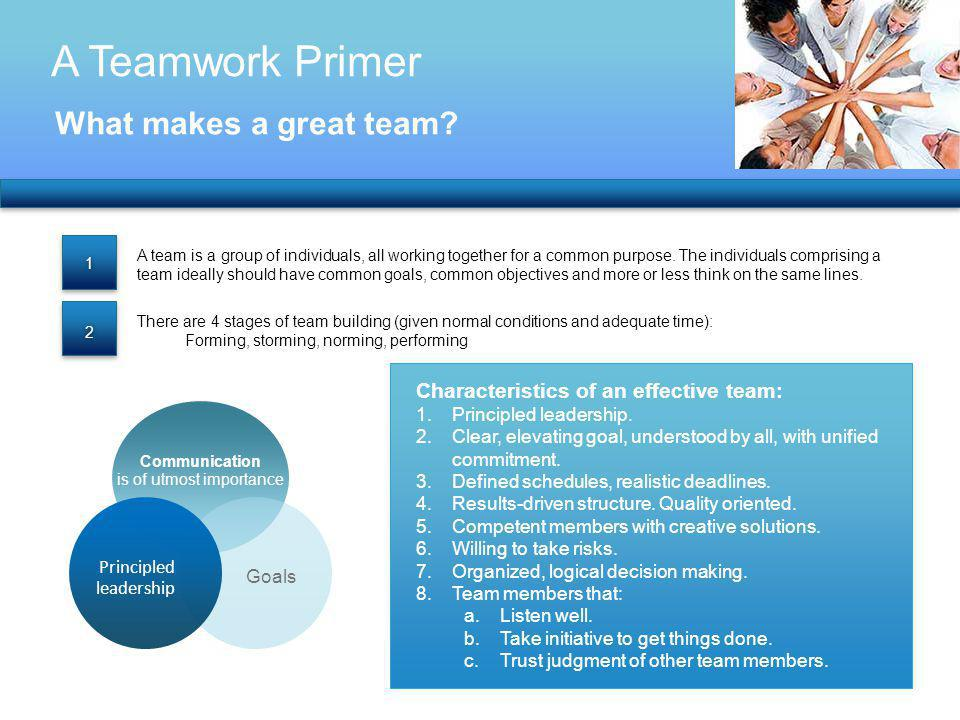 A Teamwork Primer What makes a great team