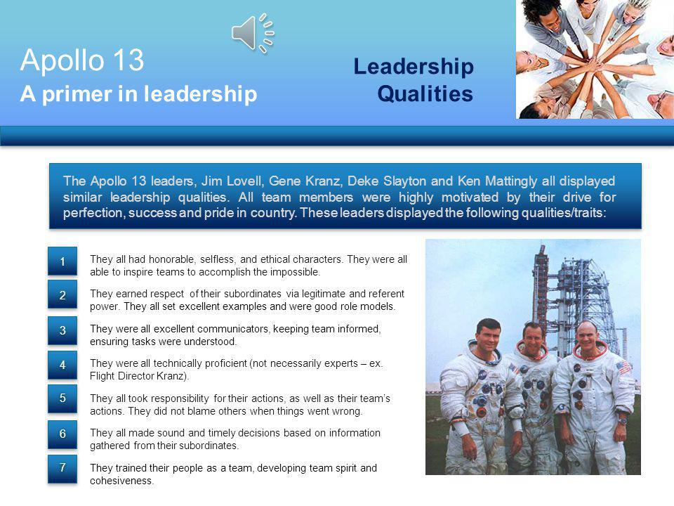 Apollo 13 Leadership Qualities A primer in leadership