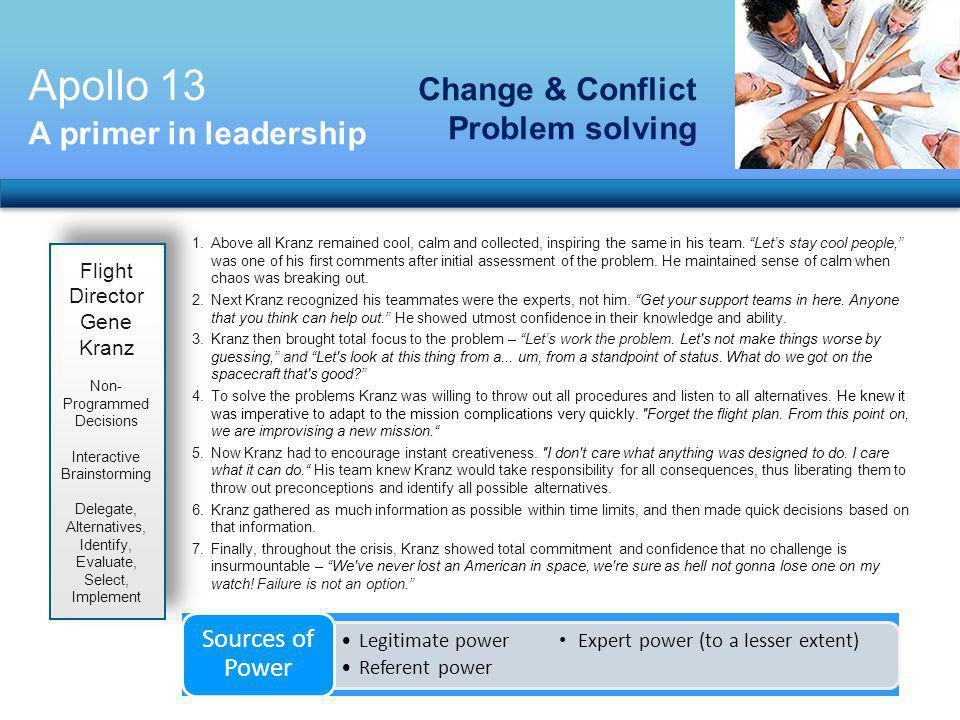 Apollo 13 Change & Conflict Problem solving A primer in leadership