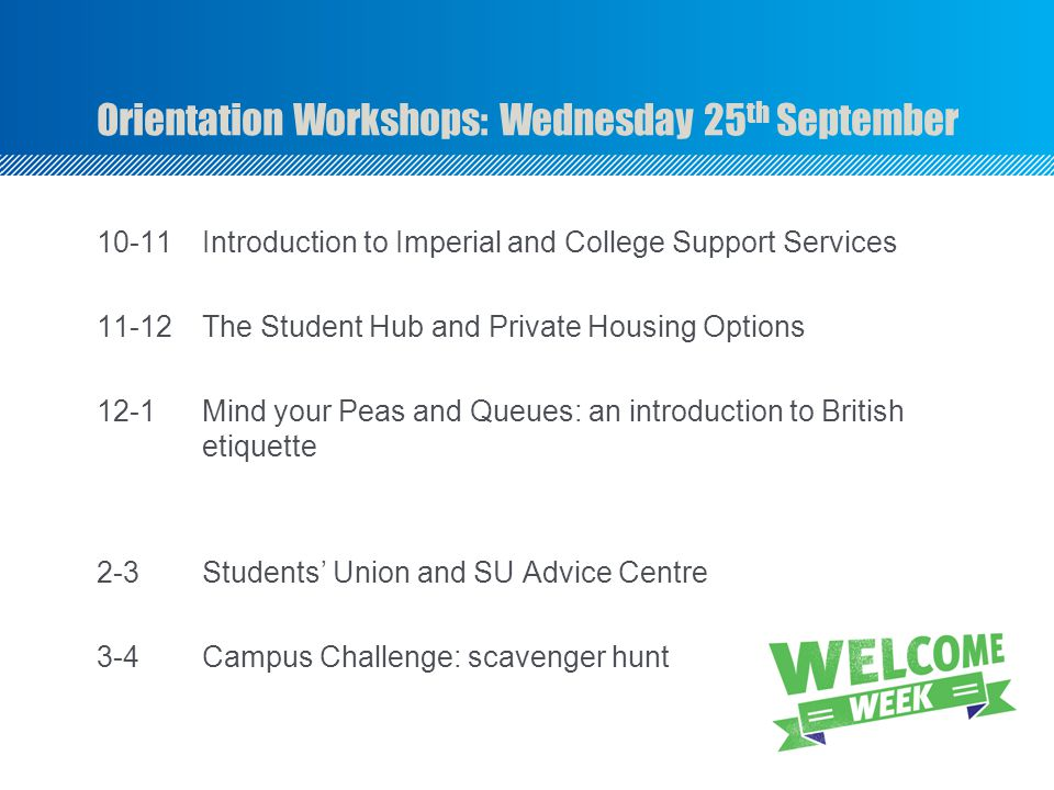 Orientation Workshops: Wednesday 25th September