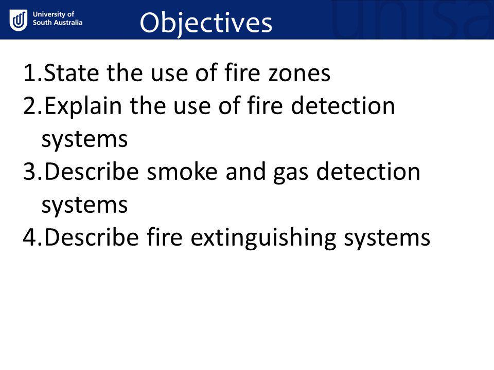 Objectives State the use of fire zones