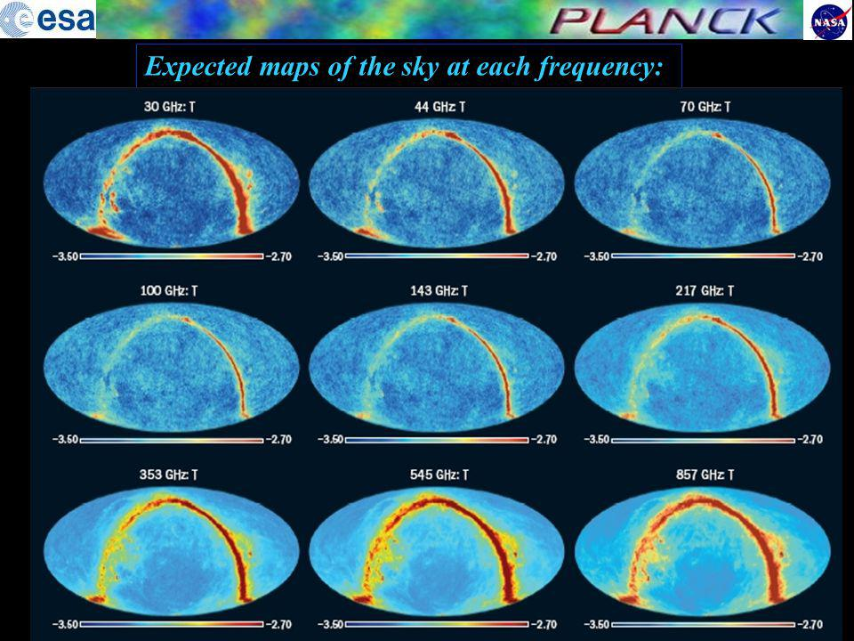 Expected maps of the sky at each frequency: