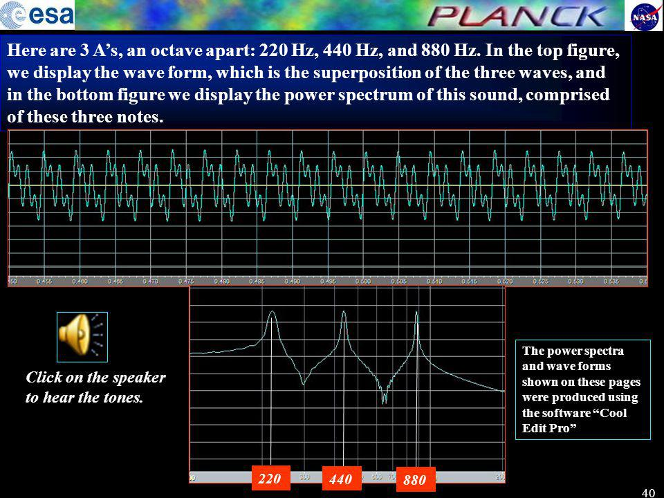 Here are 3 A's, an octave apart: 220 Hz, 440 Hz, and 880 Hz