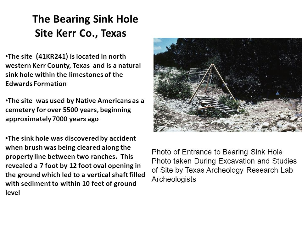 The Bearing Sink Hole Site Kerr Co., Texas