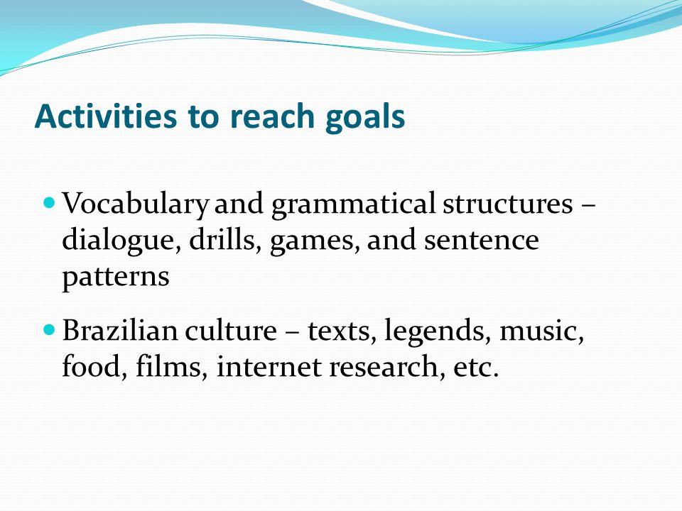 Activities to reach goals