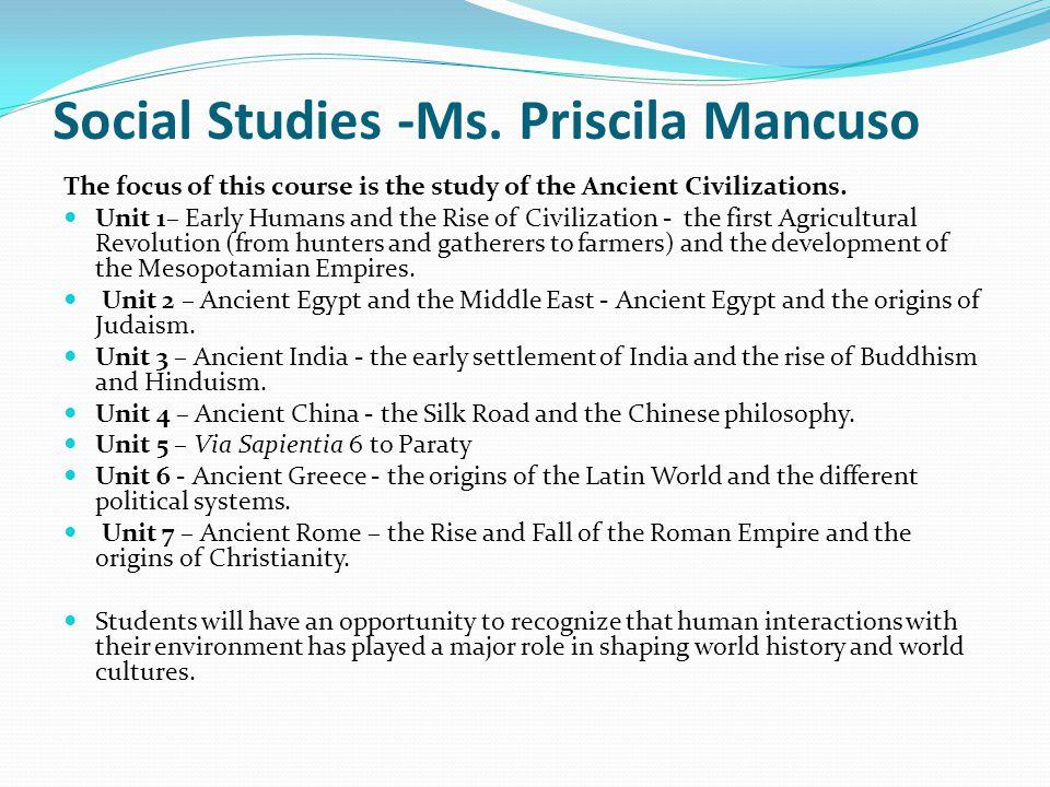 Social Studies -Ms. Priscila Mancuso