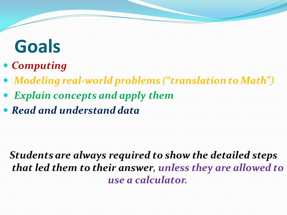 Goals Computing Modeling real-world problems ( translation to Math )