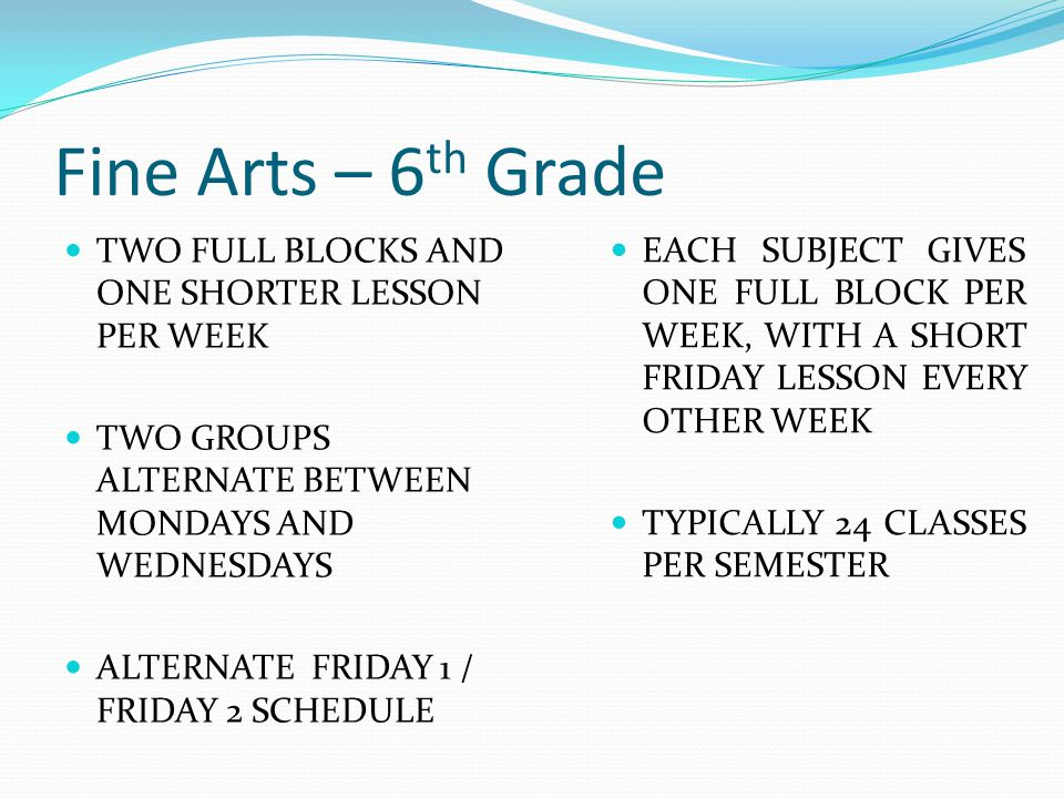 Fine Arts – 6th Grade TWO FULL BLOCKS AND ONE SHORTER LESSON PER WEEK