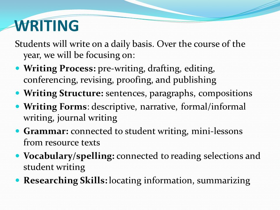 WRITING Students will write on a daily basis. Over the course of the year, we will be focusing on: