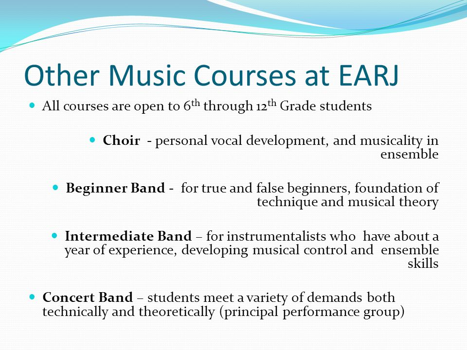 Other Music Courses at EARJ