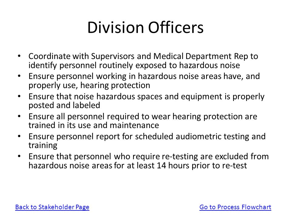 Division Officers Coordinate with Supervisors and Medical Department Rep to identify personnel routinely exposed to hazardous noise.