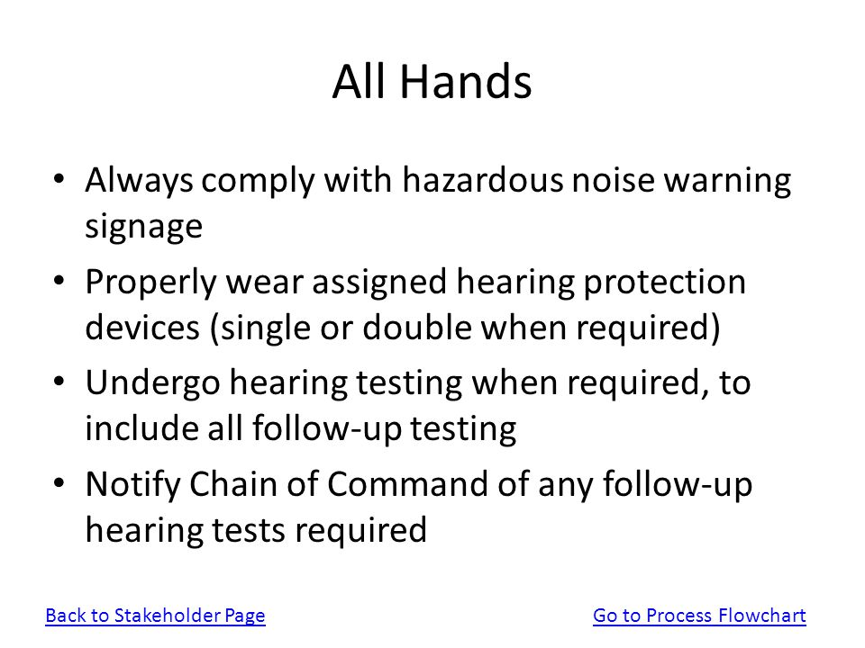 All Hands Always comply with hazardous noise warning signage