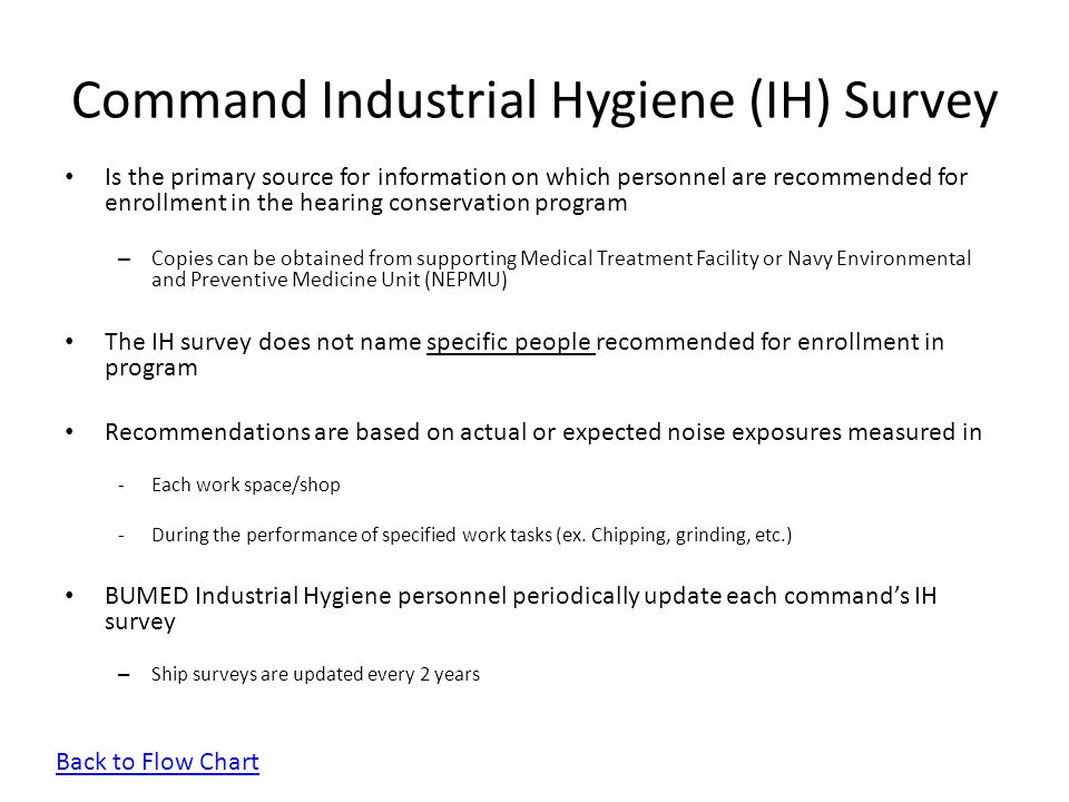 Command Industrial Hygiene (IH) Survey