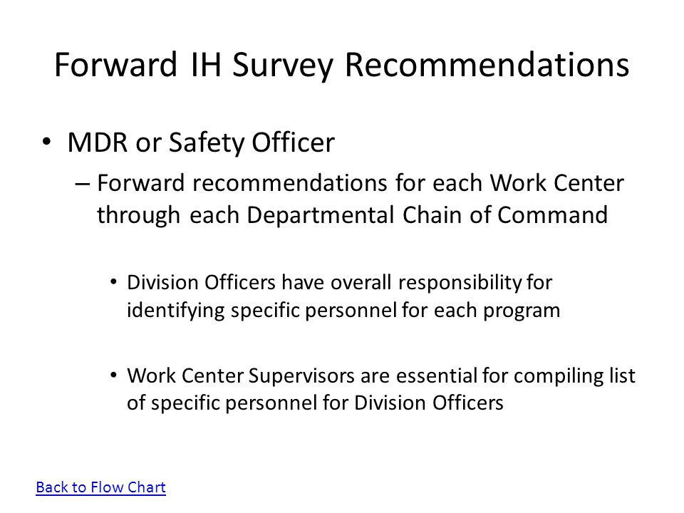 Forward IH Survey Recommendations