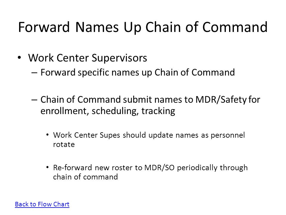 Forward Names Up Chain of Command