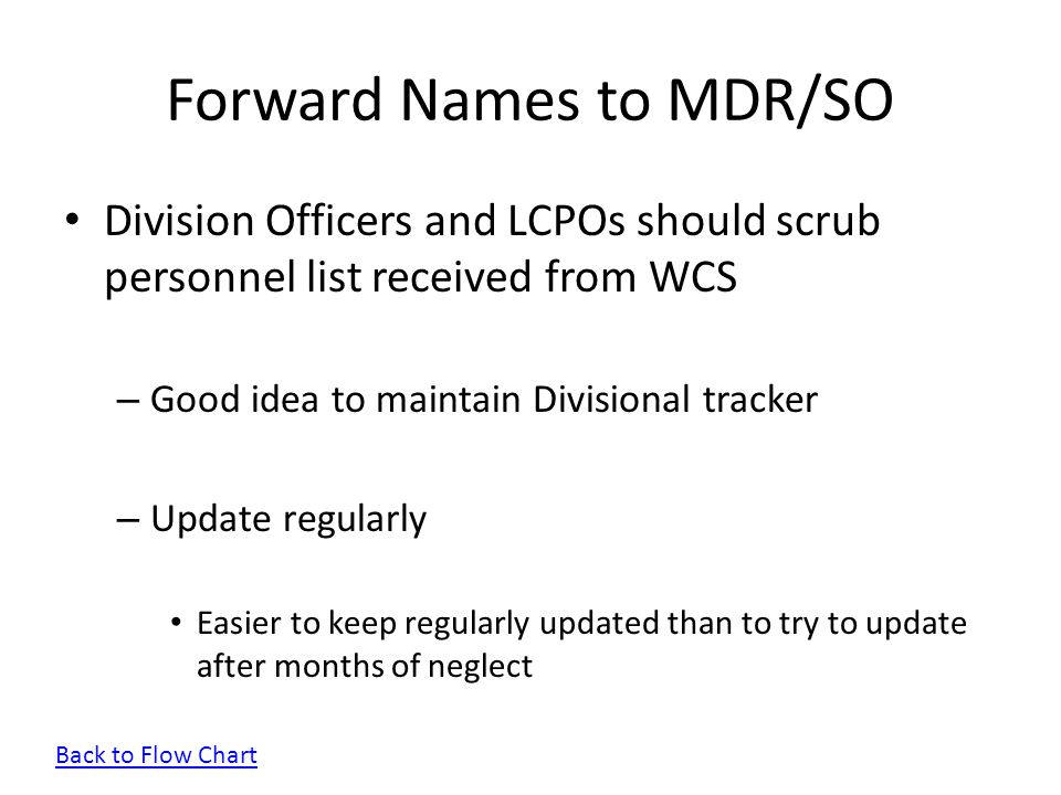 Forward Names to MDR/SO