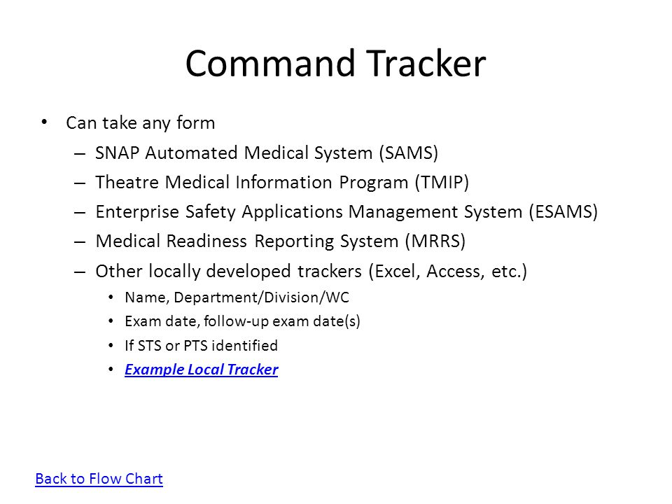 Command Tracker Can take any form SNAP Automated Medical System (SAMS)