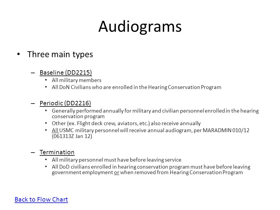 Audiograms Three main types Baseline (DD2215) Periodic (DD2216)