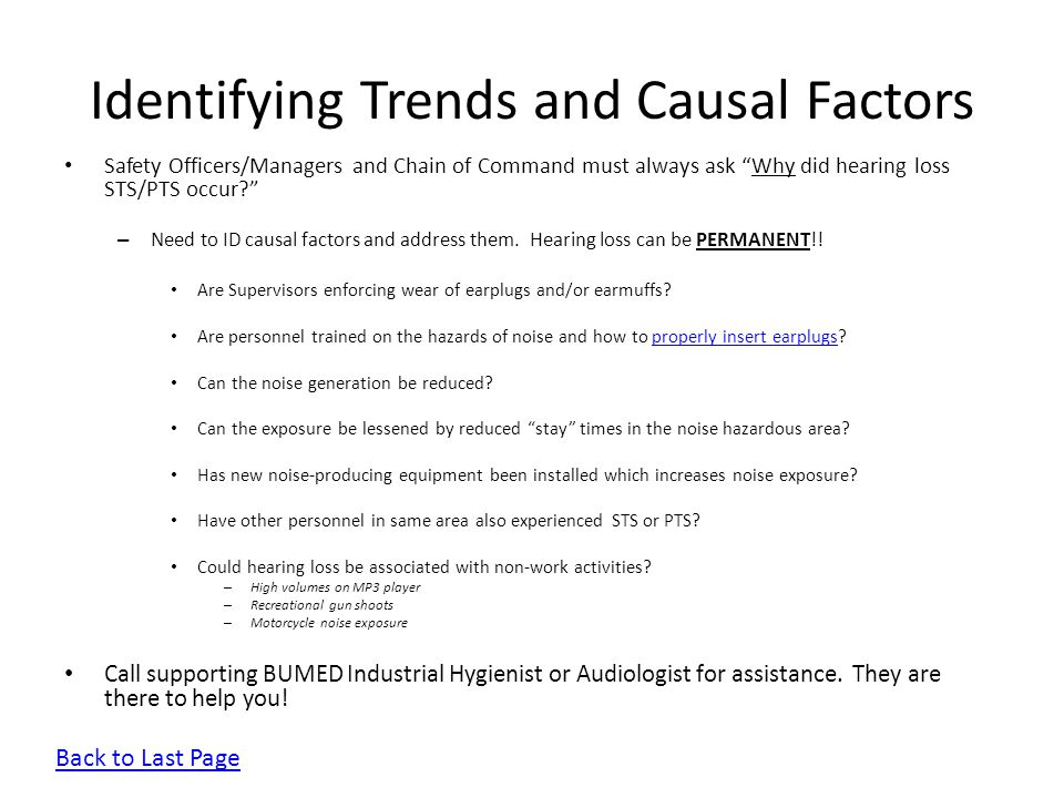 Identifying Trends and Causal Factors