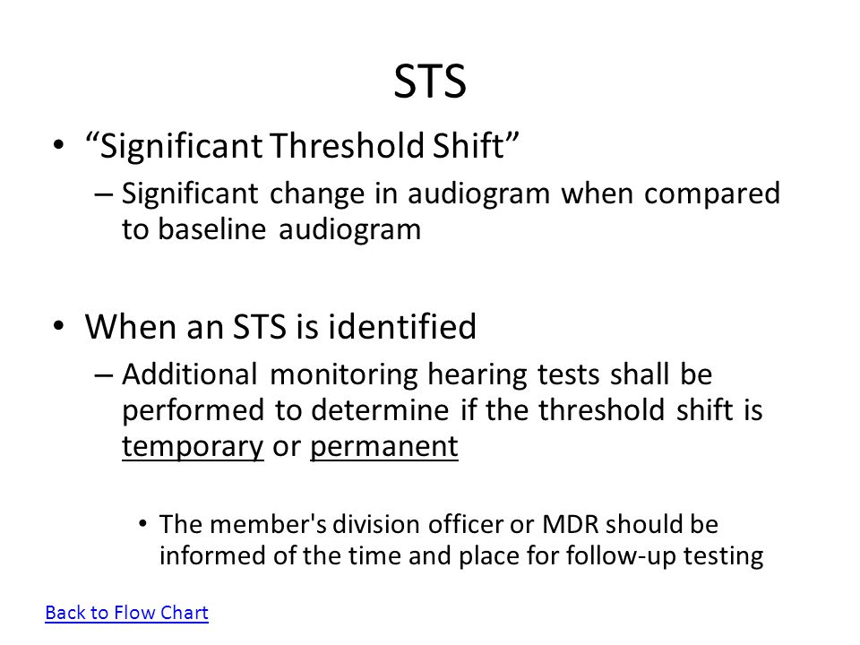 STS Significant Threshold Shift When an STS is identified
