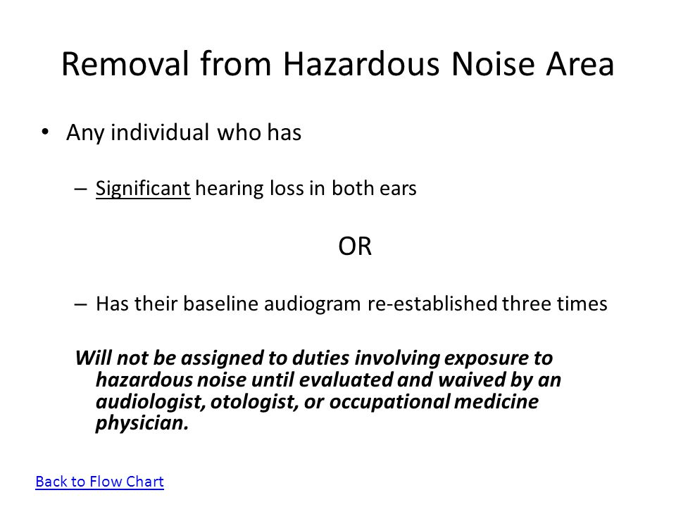 Removal from Hazardous Noise Area