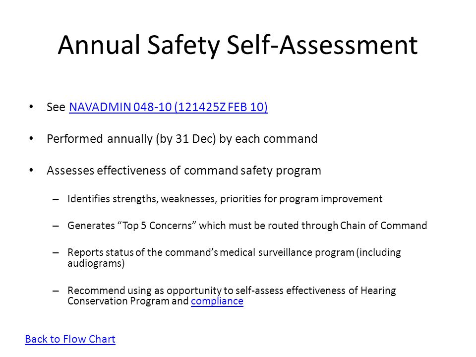 Annual Safety Self-Assessment