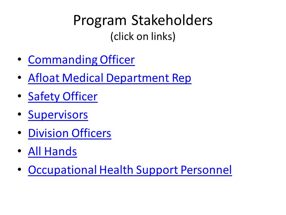 Program Stakeholders (click on links)