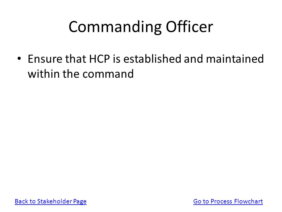 Commanding Officer Ensure that HCP is established and maintained within the command. Back to Stakeholder Page.