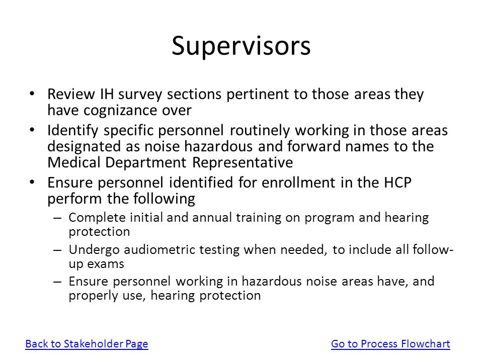 Supervisors Review IH survey sections pertinent to those areas they have cognizance over.