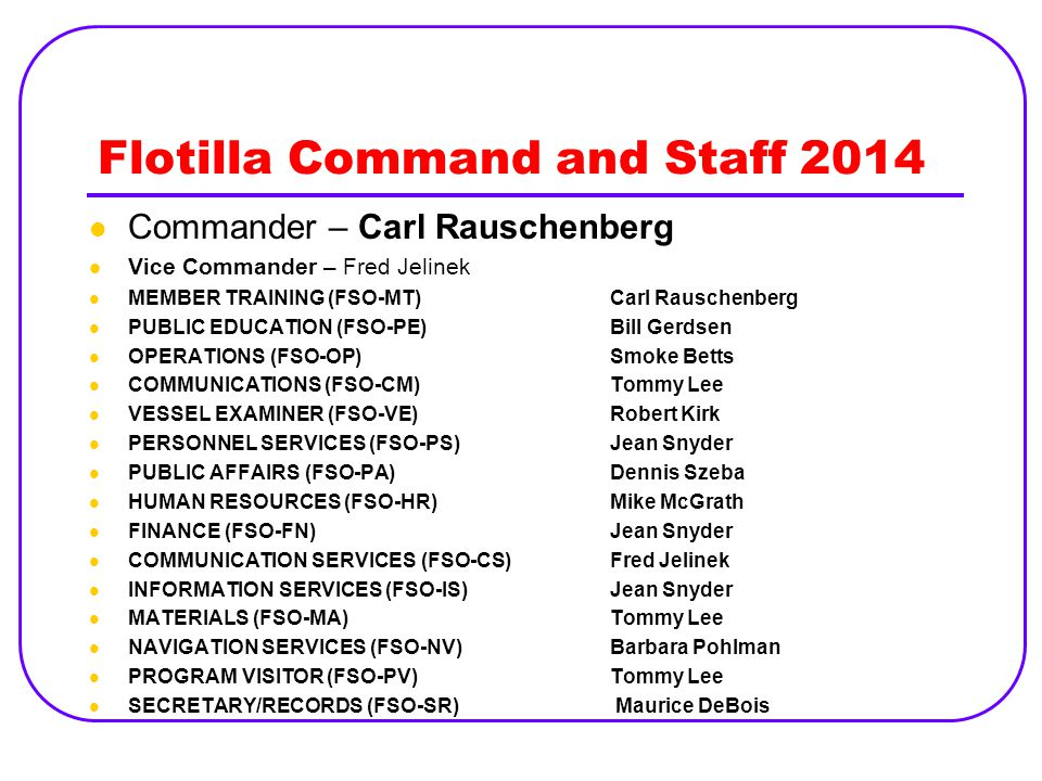 Flotilla Command and Staff 2014