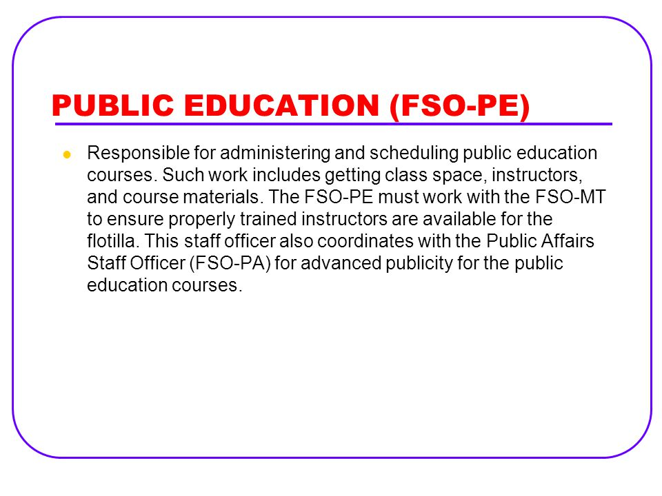 PUBLIC EDUCATION (FSO-PE)