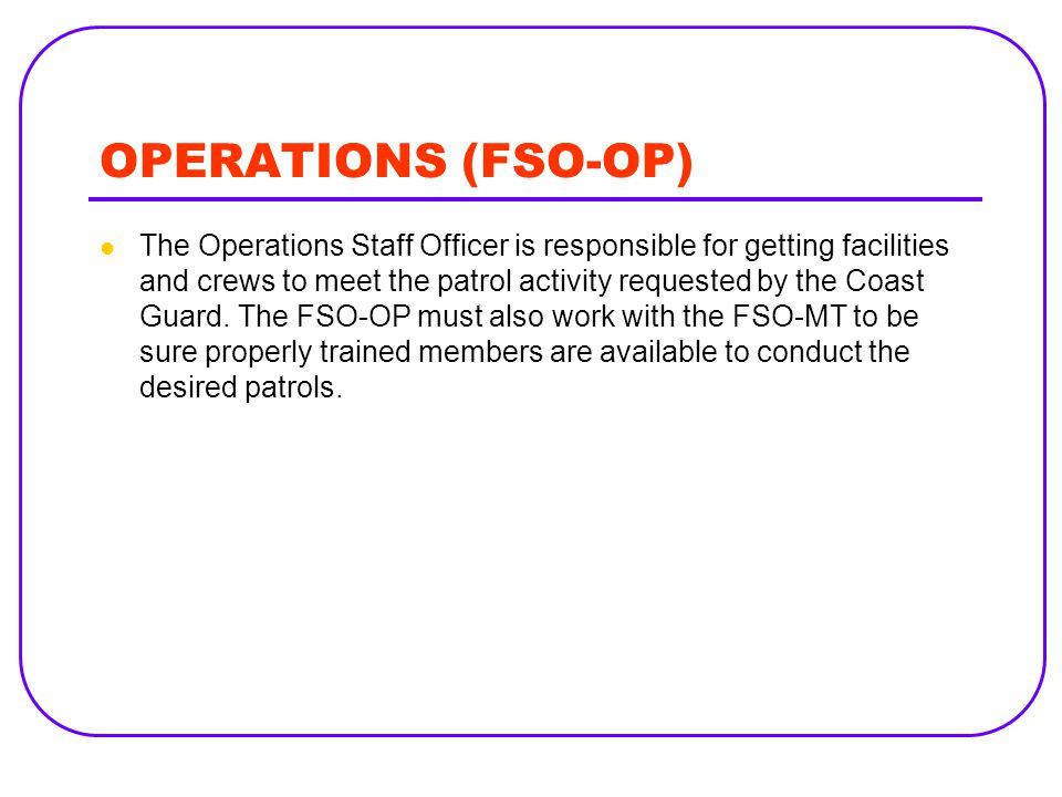 OPERATIONS (FSO-OP)