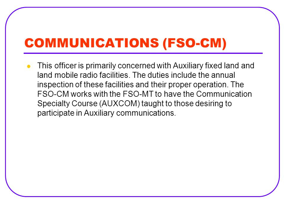 COMMUNICATIONS (FSO-CM)