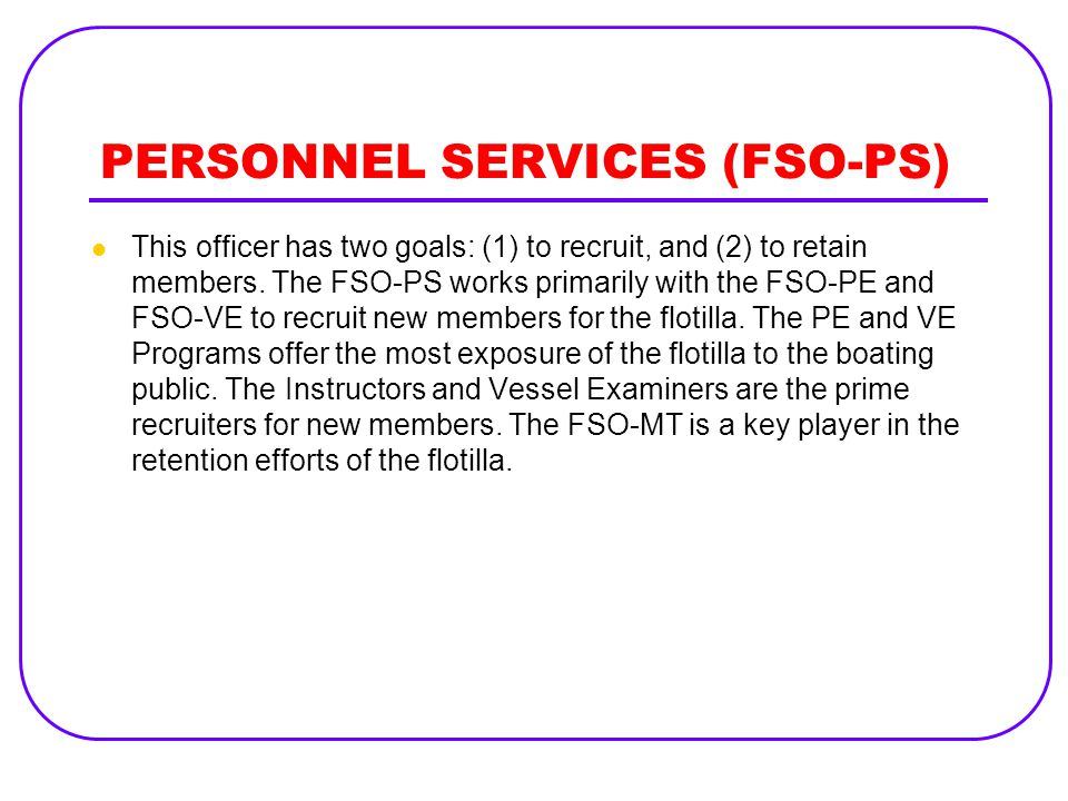 PERSONNEL SERVICES (FSO-PS)