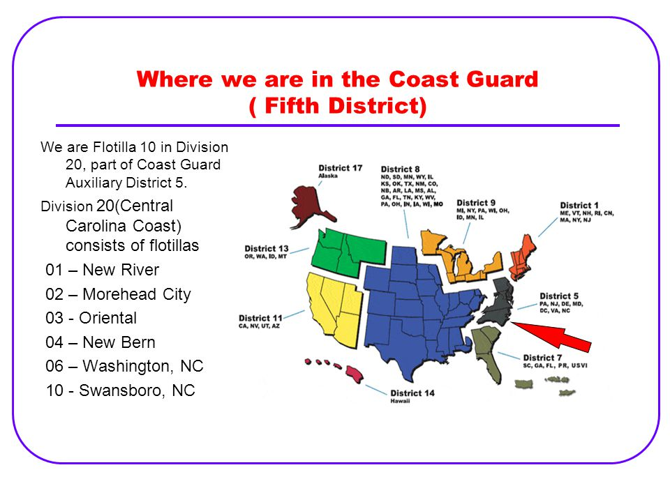 Where we are in the Coast Guard ( Fifth District)